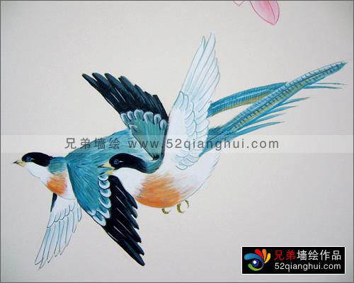 喜鹊海棠花墙绘