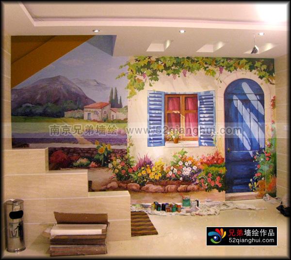 湖南路宾馆隐形门墙绘