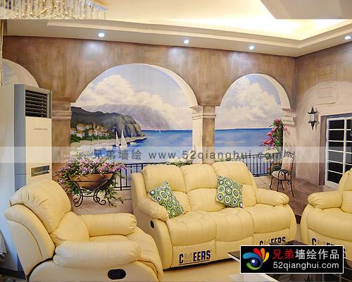别墅3D立体壁画