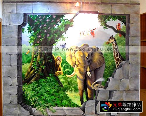 家装3d立体画,3d墙绘壁画