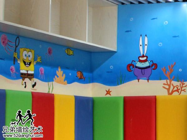 宝船厂社区亲子中心海绵宝宝墙体彩绘