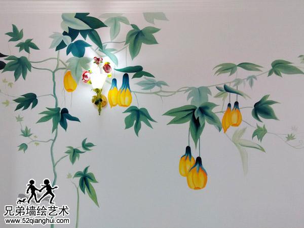 天地花园手绘客厅背景墙南瓜花