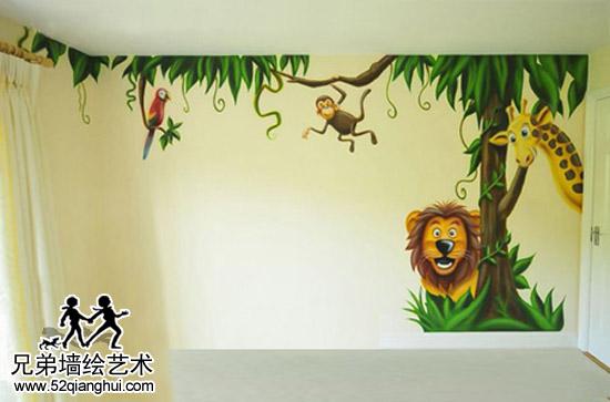 天地新城刘先生森林儿童房彩绘