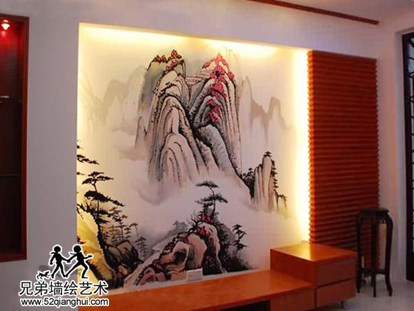 东墅山庄国画山水电视墙彩绘仙林