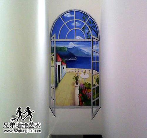 德盈国际广场玄关窗外风景彩绘