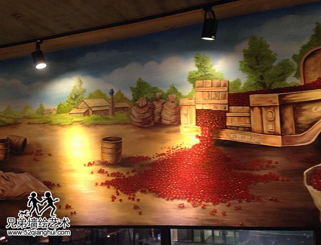 韩国咖啡陪你caffe bene咖啡店墙绘