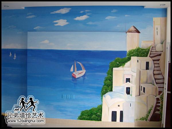 泰州稻河湾电视背景墙墙绘