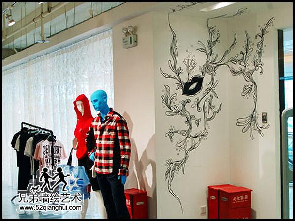 服装店墙体彩绘,商业店铺墙绘手绘墙画
