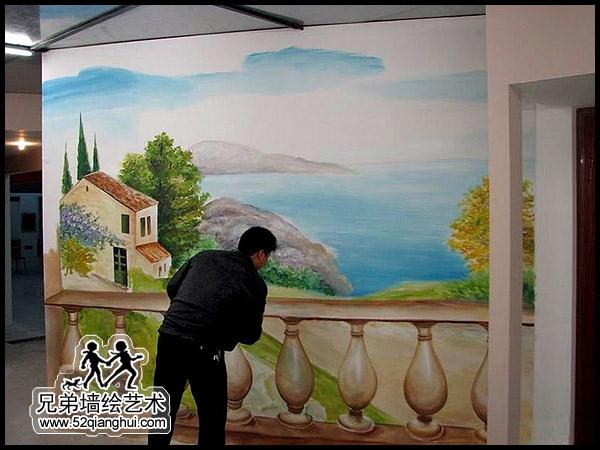 欧式油画风景手绘壁画