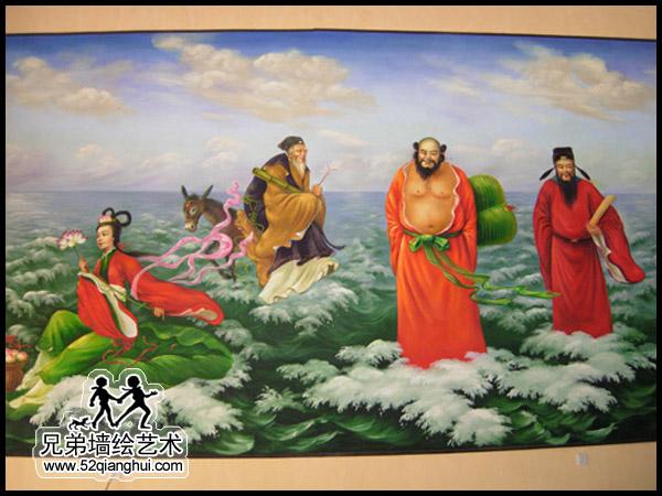 古建筑彩绘壁画,寺庙八仙过海手绘壁画