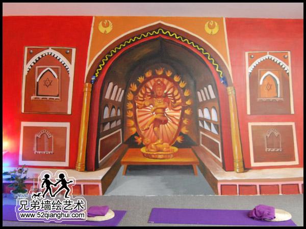 瑜伽馆墙体彩绘,瑜伽会所墙绘手绘壁画