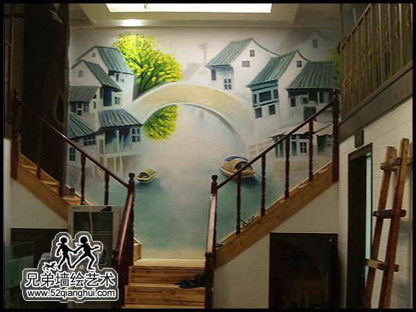 大酒店中式墙绘江南水乡