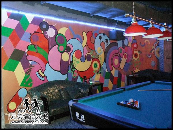 台球室墙体彩绘,台球厅手绘墙,台球俱乐部壁画