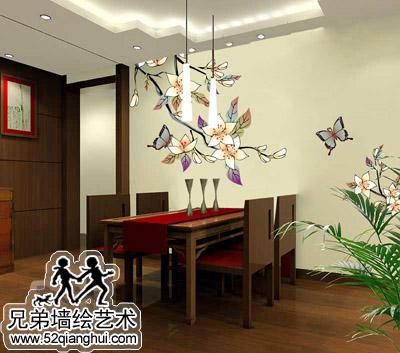 餐厅手绘墙画