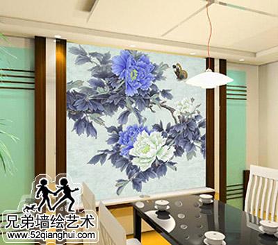 客厅餐厅手绘墙2