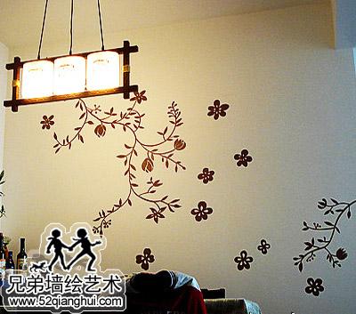 餐厅花卉墙体彩绘