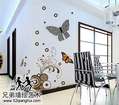 客厅手绘墙壁画2