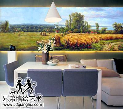 欧式油画风格餐厅手绘背景墙
