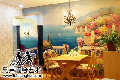 地中海风景油画餐厅手绘背景墙