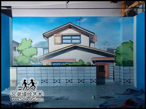 中央商场蜡像馆背景墙手绘壁画