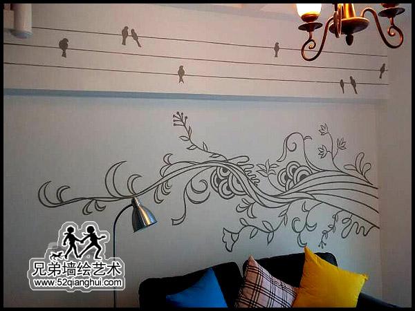 泰州锦绣国际沙发手绘背景墙