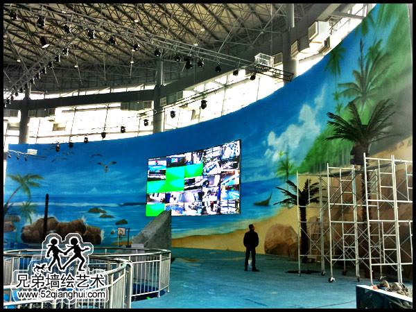 盐城海洋馆墙体彩绘喷绘