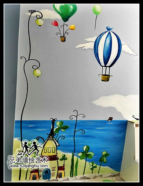 仙林儿童房墙体彩绘,韩国风景插画