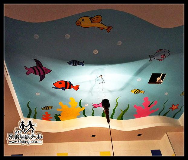幼儿游泳馆亲子教育墙绘