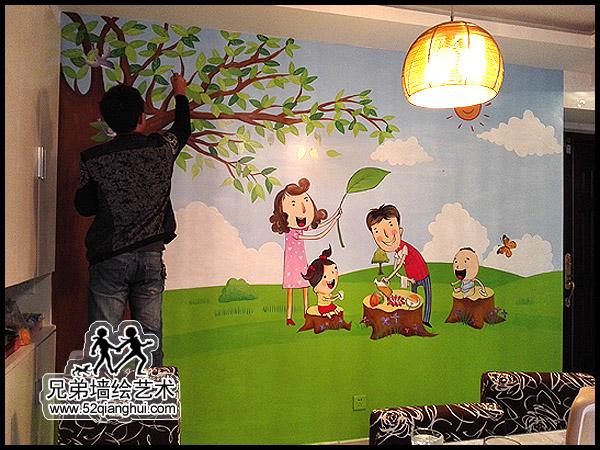 麒麟山庄胡先生家餐厅背景墙彩绘