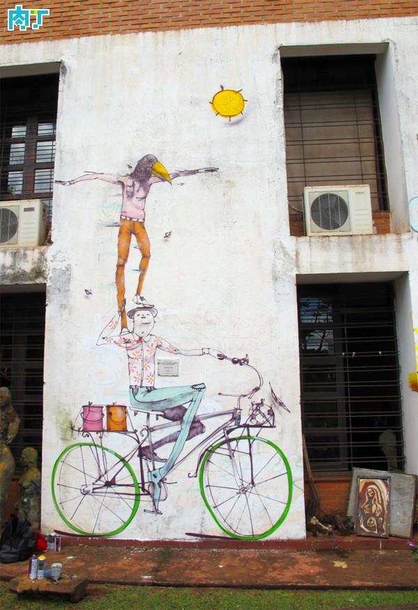 mart的创意自行车手绘街头涂鸦作品欣赏_墙绘素材图片