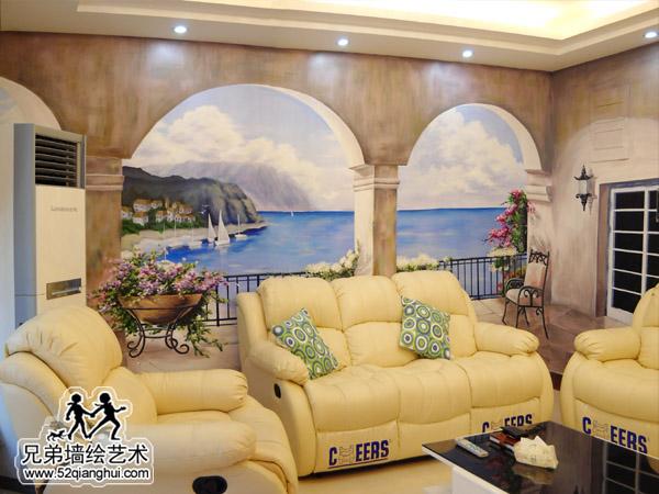 仙林保利紫晶山别墅客厅南京3D立体画海景
