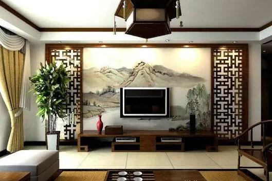 南京家装墙绘之国画山水手绘电视背景墙