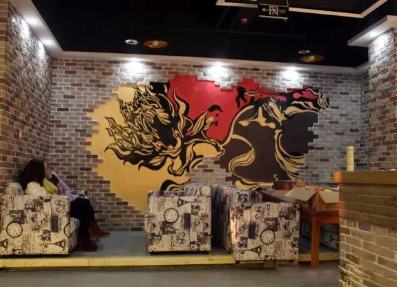 锦尚咖啡厅时尚墙绘壁画2图片