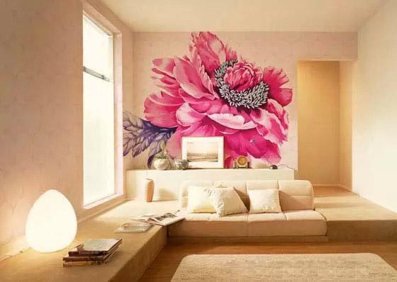 国画牡丹花沙发背景墙_墙绘素材图片_墙体彩绘图片_墙