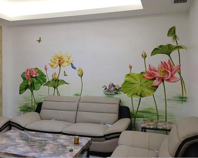 客厅手绘墙绘沙发背景墙壁画