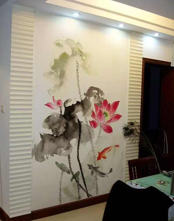 威尼斯水城南京餐厅墙绘之国画荷花鲤鱼和和美美