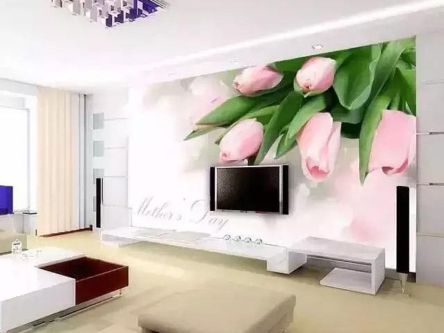 江北天润城5街区南京手绘电视背景墙郁金香