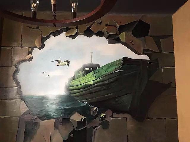 3D墙绘立体画冲出墙面的木船