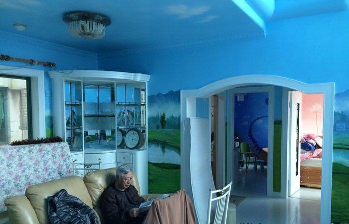 南京银城东苑客厅手绘墙画