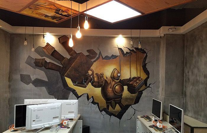 tag:南京网咖墙绘南京网吧墙体彩绘         锦尚咖啡厅时尚墙绘壁画图片