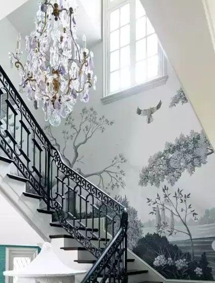 欧式高端别墅楼梯墙绘图片素材