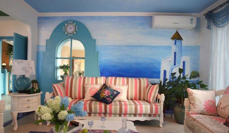 万科金域蓝湾别墅地中海风客厅墙绘