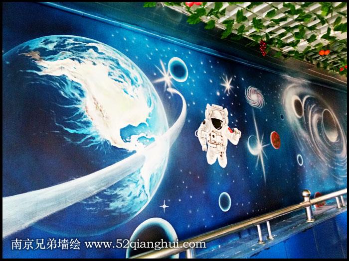 南京小市小学科幻宇宙星空墙绘