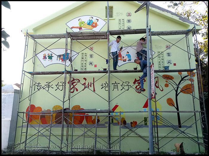 江苏文化墙墙绘 汤山建设社区
