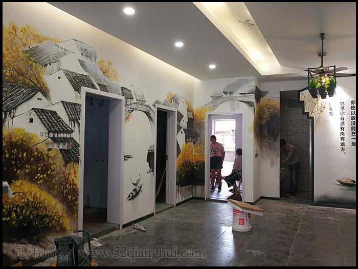 中式餐厅山水墙绘