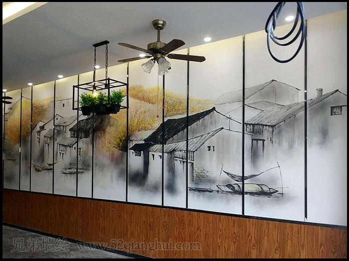 南京中国风酒店墙绘