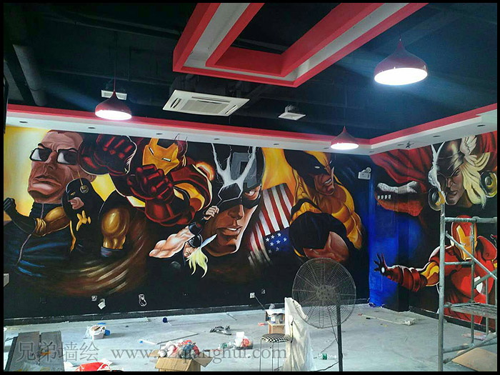 酒吧网咖墙绘涂鸦欧美风