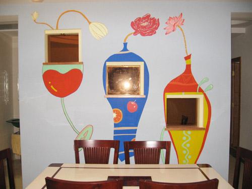 餐厅墙绘图片素材