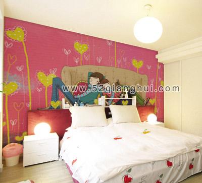 手绘卧室背景墙图片素材