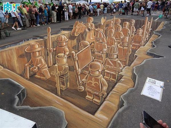 3D立体画乐高军队粉笔画创意街头涂鸦作品